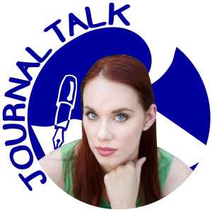 Author Samara O'Shea in front of JournalTalk logo